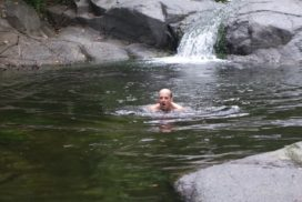swimming in several pool while trekking humid jungles