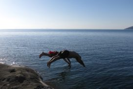 Jumping into Lake Malawi