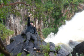 John getting nice photo angle @ Kalambo Falls